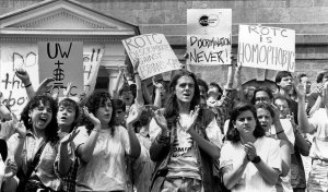 LGBT protest against ROTC treatment of gays and lesbians. University of Wisconsin, 1990.